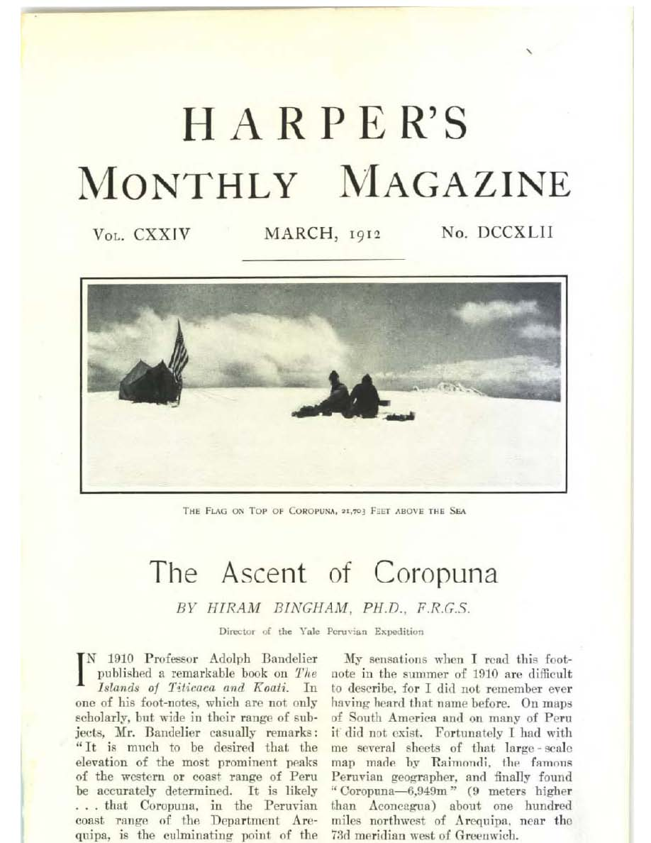 Harpers magazine cover ascent to Coropuna
